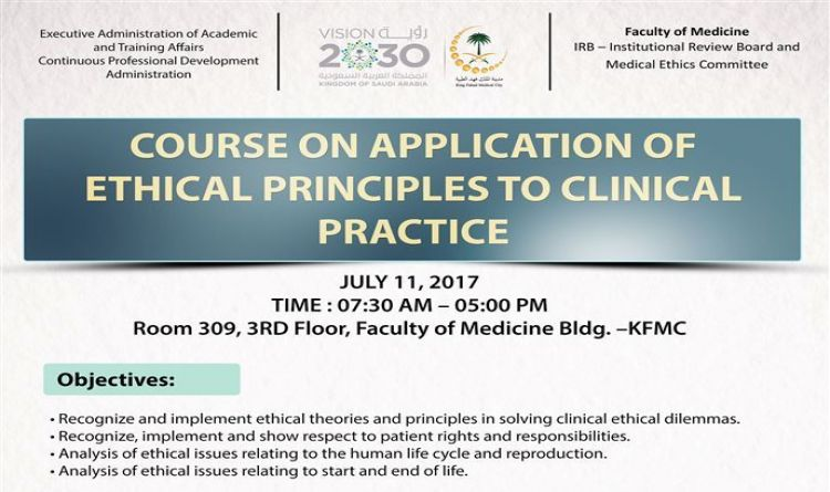 COURSE on APPLICATION of ETHICAL PRINCIPLES to CLINICAL Practice