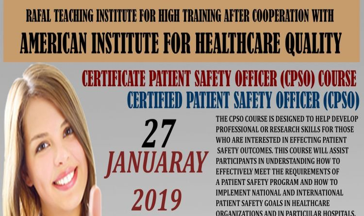 Certificate Patient Safety Officer (CPSO) Course
